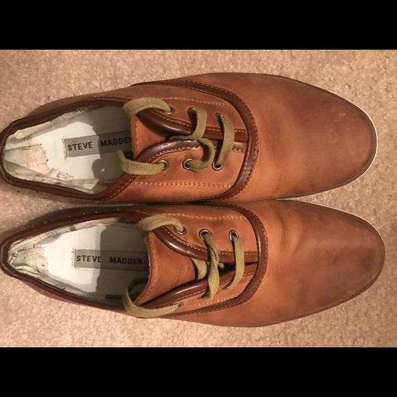 7ea8b8eefc6 Steve Madden Brown Leather Sneakers